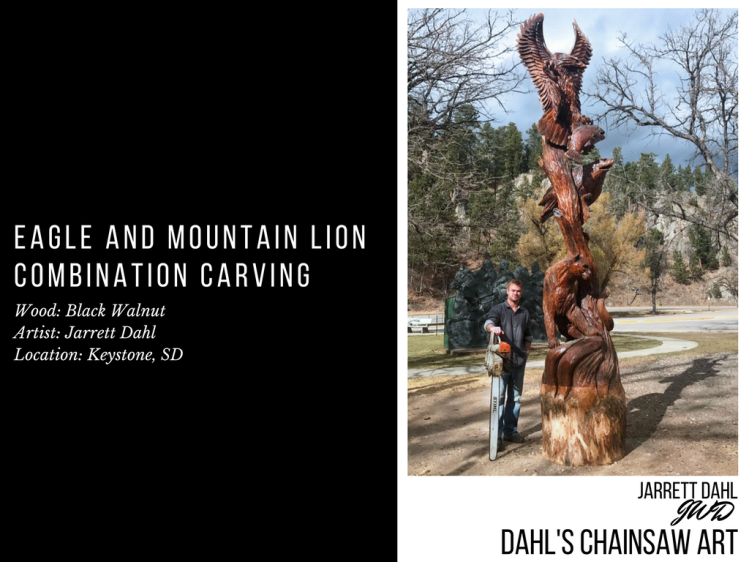 Chainsaw Artist Jarrett Dahl Next To His Eagle and Mountain Lion Combination Carving